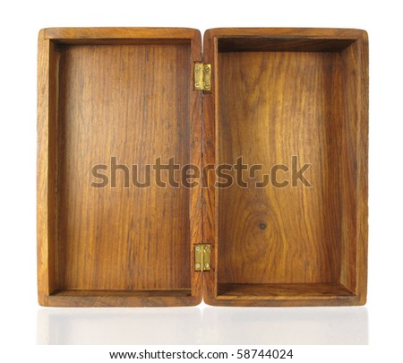 Old box with open top showing inside with brass hinges - stock photo