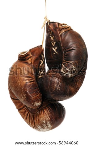 old boxing gloves isolated over white