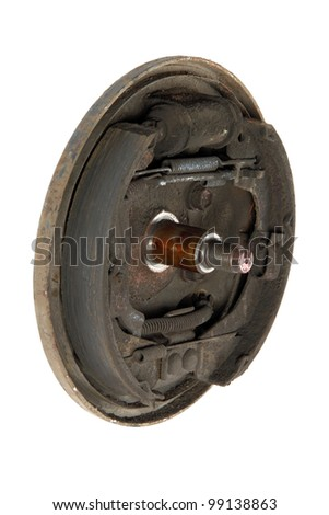 Old brake pads and cylinder brake drum, isolated on a white background