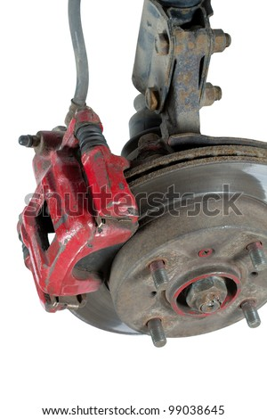 Old brake pads and disk, isolated on a white background - stock photo
