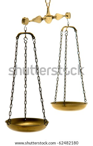 Old brass balance scale with empty pans isolated on white as legal metaphor for weighing justice and balancing the law