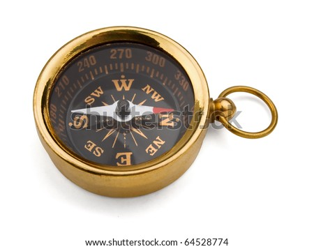 Old brass compass isolated on white