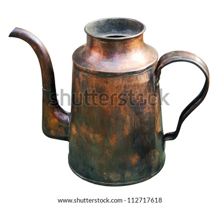 Old brass kettle isolated on white. Clipping path included.