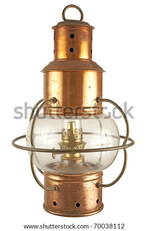 Old brass lantern with petroleum light
