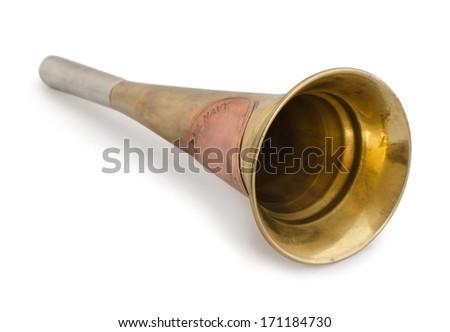 Old brass navy fog horn isolated on white