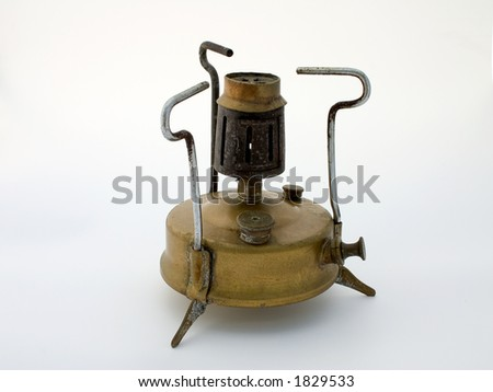 Old brass stove (primus), isolated - stock photo