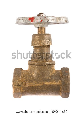 Old brass water valve isolated on a white background