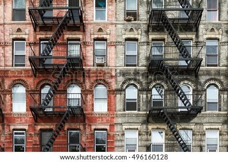 old brick apartment buildings...
