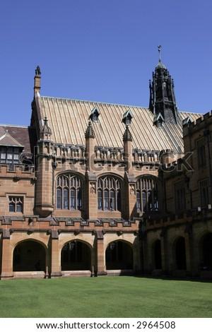 Old Brick Stone Building At Sydney University, Australia