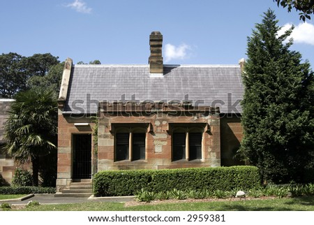 Old Brick Stone House In A Park In Sydney Australia Stock