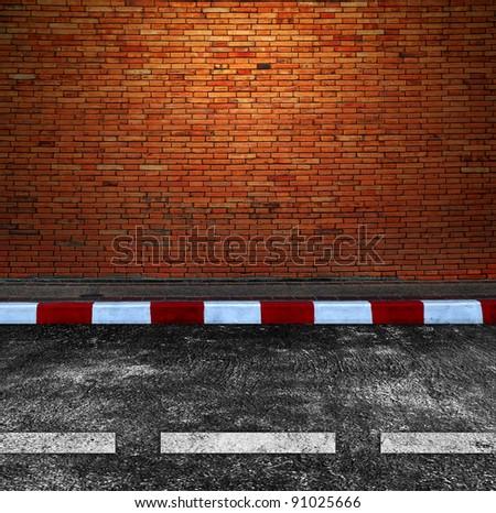 Old Brick Wall and Road Street