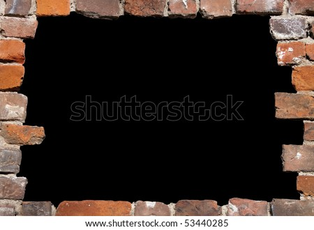 Old brick wall as a grungy frame, isolated on black background in the centre 02