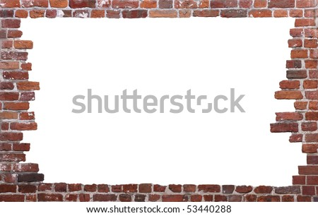 Old brick wall as a grungy frame, isolated on white background in the centre 02