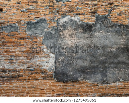 old brick wall in archaeological site. vintage background.