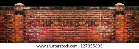 old brick wall isolated black background