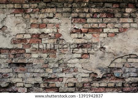 Old brick wall texture. Grunge wallpaper