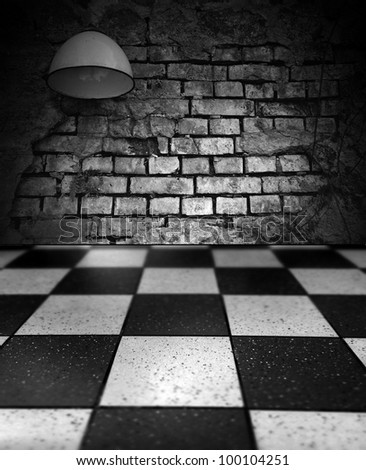 Old brick wall with a lamp and floor tile in the grid.