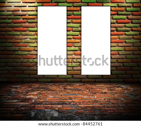 Old brick wall with blank sign ready for copy. grunge industrial interior Uneven diffuse lighting version. Design component
