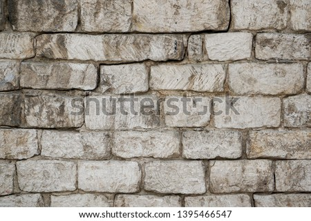 Old brick wall with white and red bricks Photo stock ©