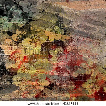 Old brickwork with aging floral wall painting