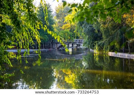 Old bridge in autumn misty park. Old stone bridge over the quiet lake with beautifull autumn light in the park. Cismigiu Garden, Bucharest, Romania. Lake and bridge in Cismigiu park. Autumn landscape.