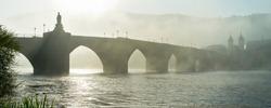 Old Bridge in Heidelberg on a foggy morning