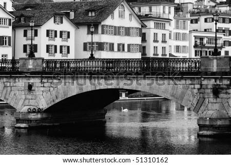 Old bridge in the center of Zurich (Switzerland)