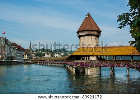 old bridge Kapellbrucke and Wasserturm in Luzern