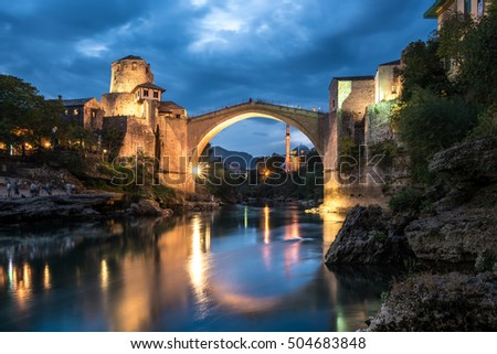 stock photo old bridge mostar 504683848 - Каталог — Фотообои «Мосты»
