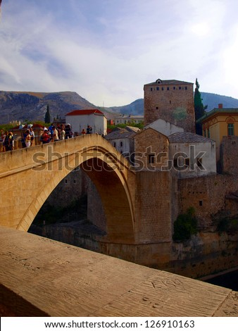 Old bridge on river Neretva - Mostar, Bosnia and Herzegovina, UNESCO