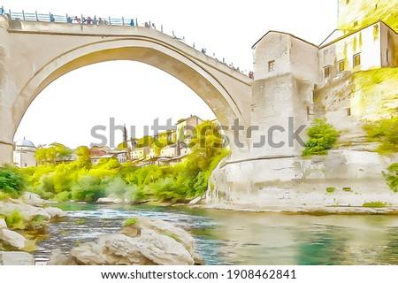 Old Bridge (Stari Most) in Mostar, color sketch illustration.  Stock fotó ©