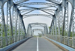Old bridge with a metal construction