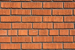 Old Bright, Red And Orange Brick Wall Texture. Strong Brickwork Seamless. Shabby Building Facade. Perfect Stonework Backdrop
