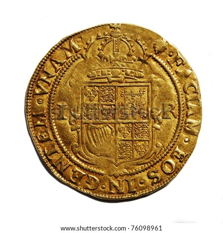 Old British hammered gold coin (Unite) isolated, from 17th century reign of King James I, reverse side