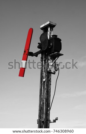 Old British railway signal with selective colour
