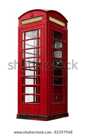 old british telephone booth isolated