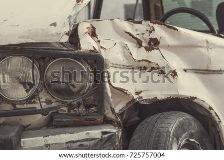 old broken car after an accident