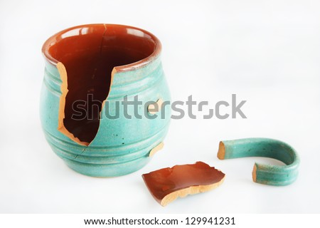 Old broken ceramic mug