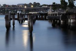 Old broken down wharf of Sydney Harbour NSW Australia