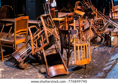 Old broken furniture. A pile of wooden wreckage of the chairs. Antiques. #776849740