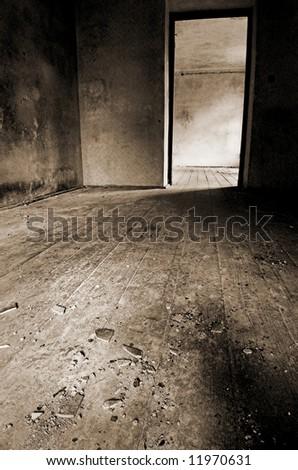 Old broken interior - stock photo