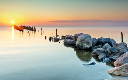 Old broken pier at the Baltic Sea