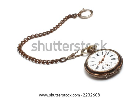 old broken pocket watch on white - stock photo