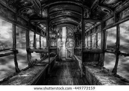 old broken rotten train in...