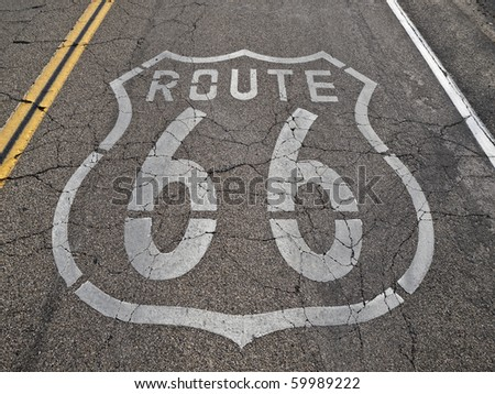 Old, broken section of historic Route 66 in California's Mojave desert.