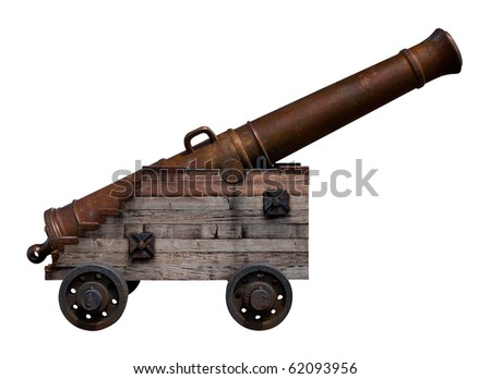 Old bronze cannon with a wooden base on a white background #62093956