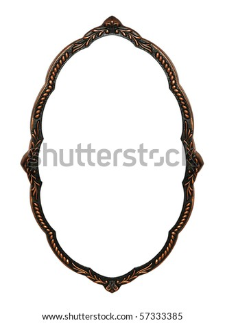 Old bronze frame for a mirror is isolated on a white background