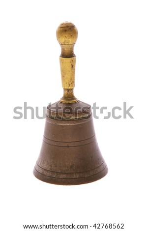 old bronze hand bell isolated on white