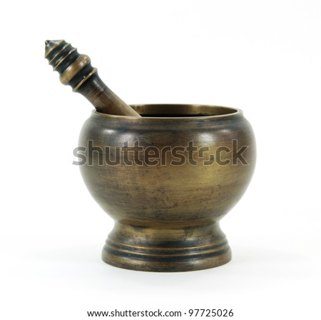 Old bronze mortar and pestle