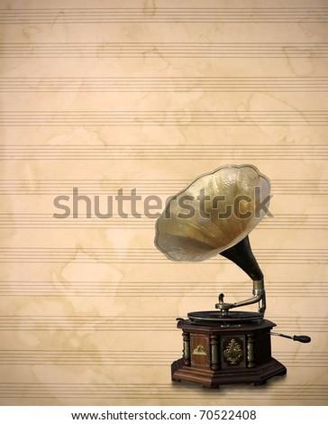 Old bronze Phonograph, vintage old music sheet